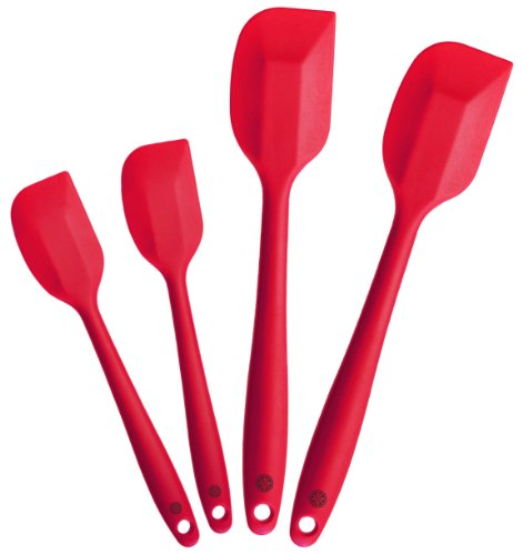 StarPack Premium Silicone Spatula Set of 4 with Hygienic Solid Coating - Bonus 101 Cooking Tips (Cherry Red)