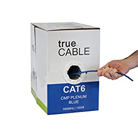 Cat6 Plenum (CMP), 1000ft, Blue, Solid Bare Copper Bulk Ethernet Cable, 550MHz, ETL Listed, 23AWG 4 Pair, Unshielded Twisted Pair (UTP), trueCABLE 1 HIGH PERFORMANCE NETWORK CABLE. This plenum rated cat 6 lan cable is 23 AWG with 4 pairs (8C). Suitable for Fast, Gigabit, and 10-Gigabit Ethernet. Supports bandwidth of up to 550 MHz. HASSLE FREE PACKAGING. 1000 feet (305 meters) of our trueCABLE product has been packaged in a tangle free, easy pull box so you don't have to worry about getting behind on your next job. 100% SOLID BARE COPPER CONDUCTORS. Pure bare copper produces a stronger signal along with better conductivity and flexibility when compared to copper clad aluminum (CCA).