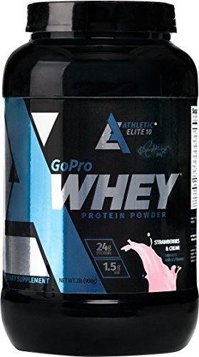 Price comparison product image Athletic Elite 10,  GoPro 100% Hi-Protein Whey Protein Powder,  Dietary Supplement (Strawberry and Cream