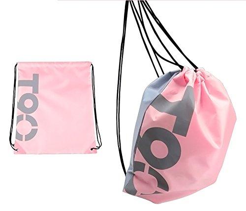 Swimming Drawstring Beach Bag Sport Gym Waterproof Backpack Duffle Pink - 8