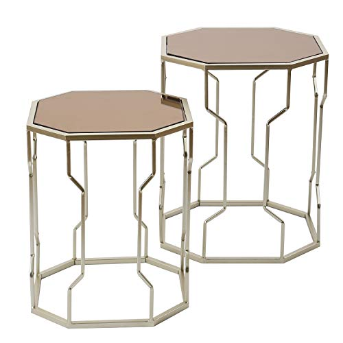- Adeco Decorative Nesting Octagon Side End Accent Table Plant Stand Chair for Bedroom, Living Room and Patio, Set of 2