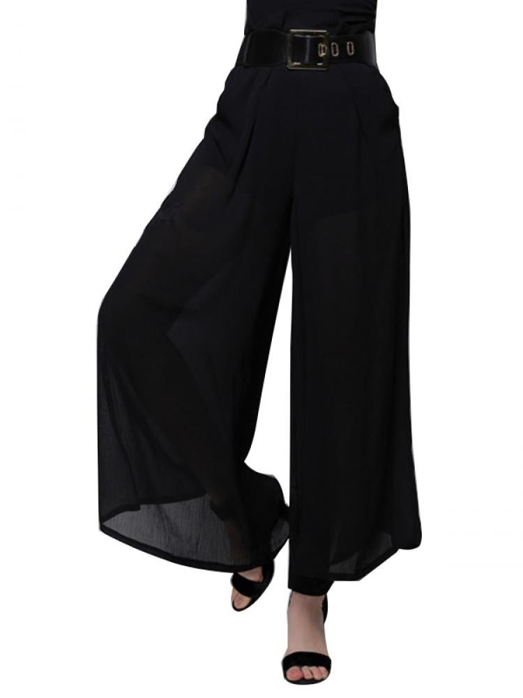 Enlishop Women's Black High Waist Semi Sheer Pleated Palazzo Wide Leg Pants