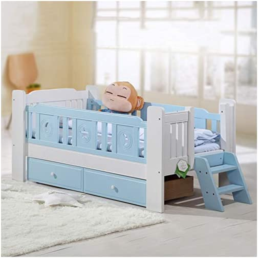 DUWEN Cot Bed Solid Wood Children's Bed Multifunction Baby Cot Toddler Bed with Guardrail and Tail Ladder (Color : Blue White)
