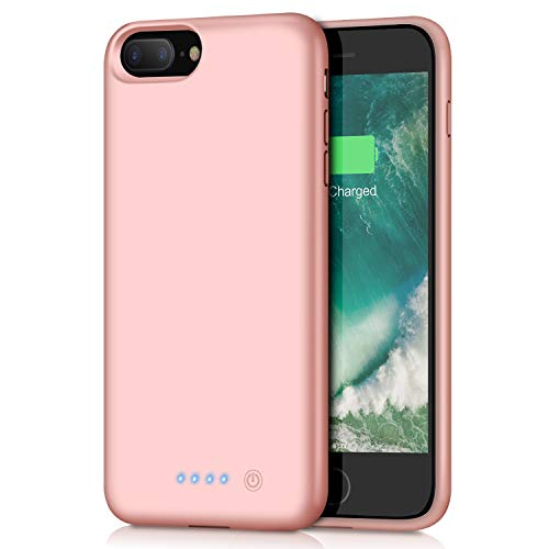 Battery Case for iPhone 8Plus/ 7Plus 8500mAh,Upgraded HETP Protective Rechargeable Extended Battery Pack for iPhone 7Plus Charging Case for Apple iPhone 8Plus Portable Power Bank (5.5 inch)-Rose Gold
