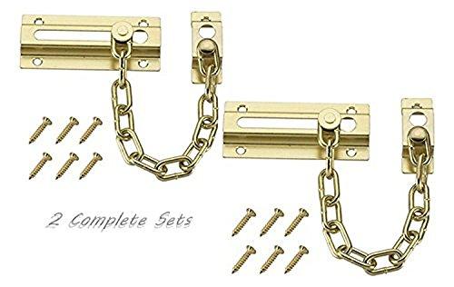 Security Door Chain (Set of 2 Chain Door Guards Brass Plated Steel Chain Fits on All Doors)