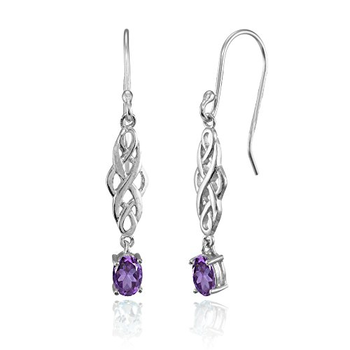 Sterling Silver African Amethyst Oval Celtic Knot Drop Dangle (Sterling Silver Oval Celtic Knot)