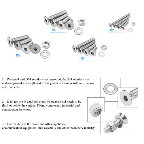 304 Stainless Steel Hex Flat Head Cap Bolts Screws Nuts Washers Assortment Kit with Hex Wrenches DYWISHKEY 1220 PCS M2 M3 M4 M5