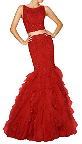 DAPENE® Women's Round Neck Sweep Two Piece Formal Dress Red 26 W