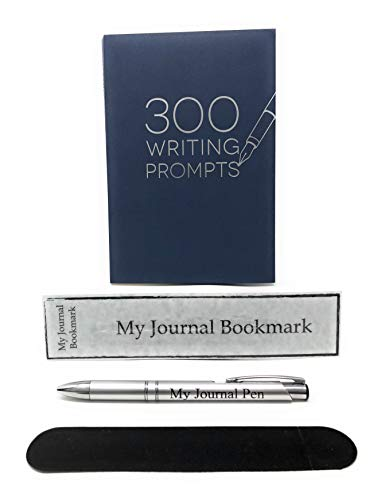Writing Journal Notebook Daily Notepad Bundle - 1 Picadilly 300 Writing Prompts Notebooks | My Journal Pen with Black Velvet Pen Pouch and Bookmark by 808Marketing