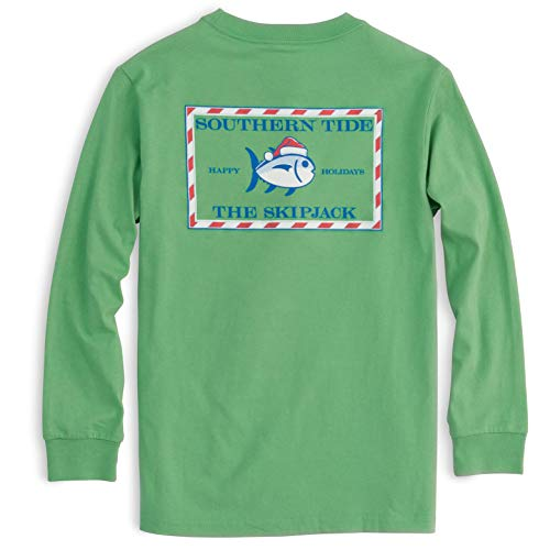 Southern Tide Youth Boys Long Sleeve Candy Cane Skipjack Tee (Green Spruce, Small)