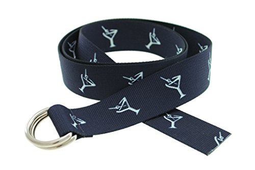 D-Ring Canvas Web Sailing Belt Made in USA by Thomas Bates (Navy Cocktail)