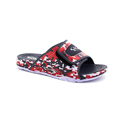 Boombah Mens Tyrant Digital Camo Slide Sandals - 11 Color Options - Multiple Sizes Navy/Red GsX1in