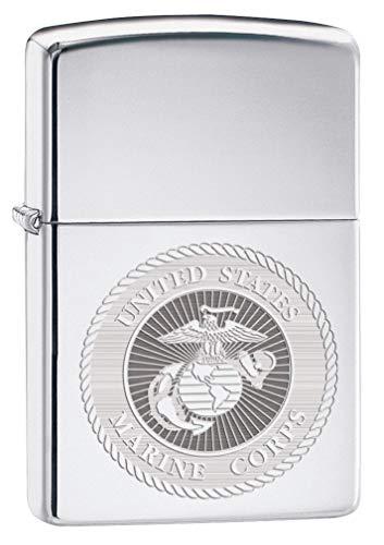 Zippo Lighter: USMC Marine Corps Engraved Seal - High Polish Chrome 80154