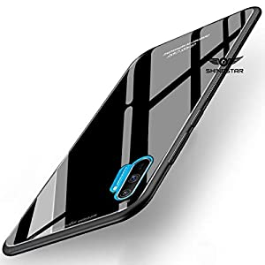 SHINESTAR Tempered Glass Back Cover with Soft Edge TPU Full Protective Case Cover for Realme C3 – (Black Glass)