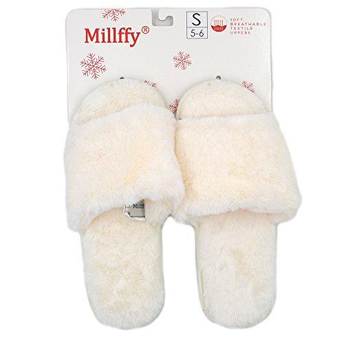 Zapatillas Mullidas Y Suaves Para Mujer De Millffy Zapatillas De Piel Sintética De Lana Zapatillas Clásicas De Piel De Conejo Y Suave Abierta Beige
