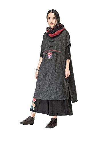 Rundhals Pullover Midi Grau Ärmel Kurze JIQIUGUER kleider Wolle Schlitze Damen qta1SxO