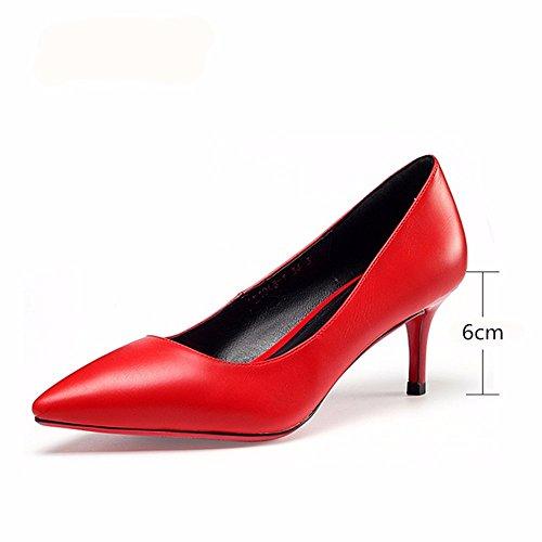 HXVU56546 La Primavera Y El Otoño, Los Zapatos De Tacón Alto Zapatos De Punta De Moda Zapatos De Mujer Profesional Boca Superficial 38 Rojo