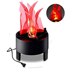 Specification Product size: 12*10cm Flame Height : 13cm Material: ABS plastic +fabric Light source: 1 PCS Red LED light(3W). voltage: AC85-260V Function: light on ,fan to work make the fabric waving Package including: 1x Flame Light with US p...