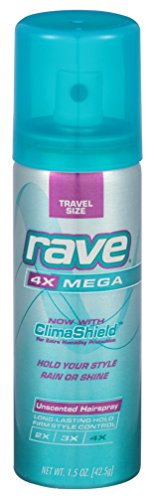 Rave 4X Mega Hairspray Unscented 1.5 Ounce (18 Pieces) Aerosol (44ml) -