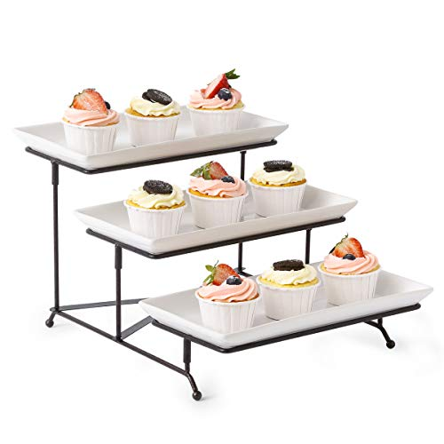 3 Tier Serving Stand Collapsible Sturdier Rack with 3 Porcelain Serving Platters Tier Serving Trays for Fruit Dessert Presentation Party Display Set ()