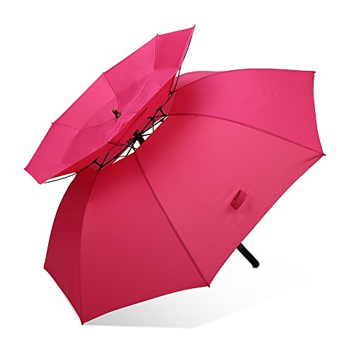 RUMBRELLA Golf Umbrella Large Double Canopy 60MPH Windproof Umbrellas Oversized 62IN Auto Open for Men Women, Pink
