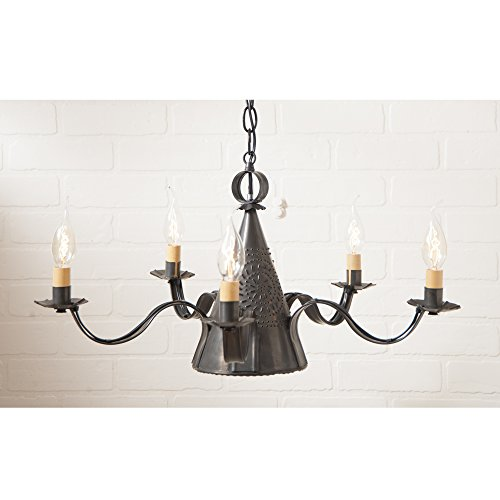 Irvin's Country Tinware Small Sturbridge Chandelier Chisel in Blackened Tin