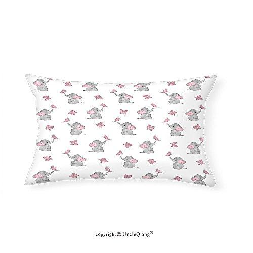 VROSELV Custom pillowcasesElephant Nursery Decor Baby Elephants Playing with Butterflies Lovely Kids Room for Bedroom Living Room Dorm Grey Light Pink White(14''x24'') by VROSELV