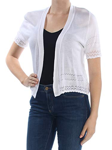 Signature by Robbie Bee Womens Petites Open Front Shrug Sweater White PM