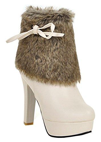 YE Damen Winter High Heels Stiefeletten Plateau mit Schleife Blockabsatz Fell Reißverschluss 11cm Absatz Elegant Stiefel Beige