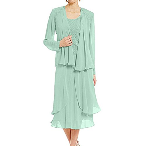 - WHZZ Womens Lace Mother of The Bride Dress with Jacket Long Sleeves Party Gown for Weddings Mint
