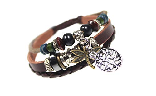 Silver Jewelry Dragonfly Leather Zen Bracelet Fits 6 To 9 Inches In Gift Box