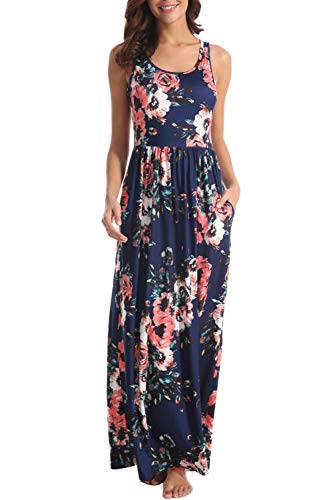 Zattcas Women Floral Tank Maxi Dress Pocket Sleeveless Casual Summer Long Dress,Navy,XX-Large ()