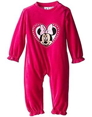 Baby Girls Minnie Velour Coverall
