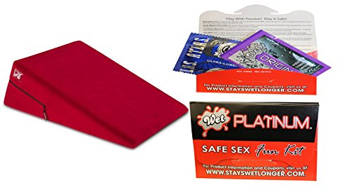 Bundle package 1 Liberator Ramp Red AND 1 Wet Safe Sex Kit with Platinum Silicone Lubricant by Oneup Innovations, Inc