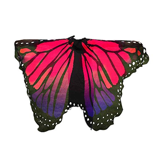 Soft Fabric Butterfly Wings Adult Shawl Fairy Ladies Nymph Pixie Costume For Women Fairy Accessory ICODOD(Hot Pink)