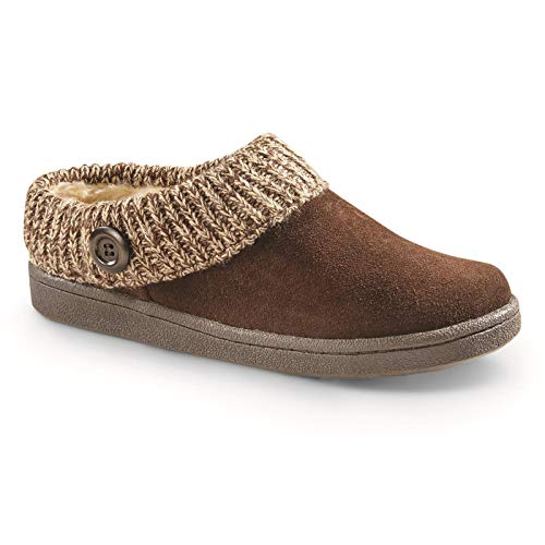 - Guide Gear Women's Suede Clog Slippers with Sweater Button Collar, Brown, 6B (Medium)