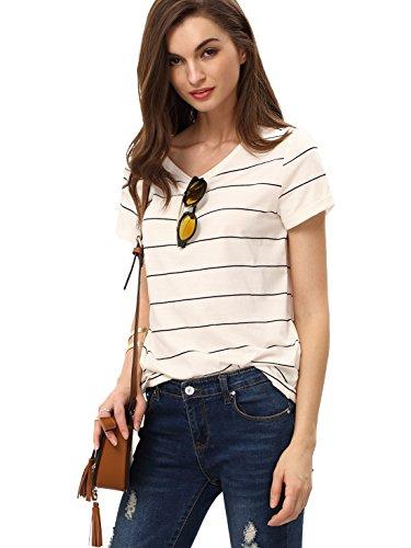 ROMWE Women's Striped Crewneck Short Sleeve Loose Fit T Shirt Blouse Tops White XS