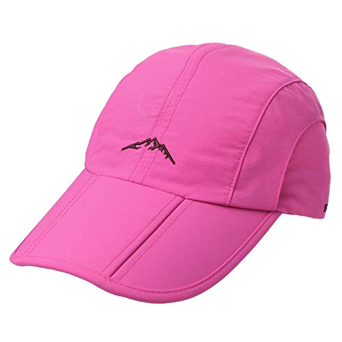 Fancet Women Foldable Quick Drying Sports Rain Cap Sun Protection UPF Hat Running Golf Rose Pink