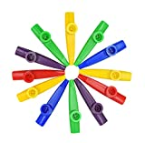 12Pcs Kazoo With 20Pcs Kazoo Flute Diaphragms, Durable Plastic Kazoo Musical Instruments, Good Companion for Guitar, Ukulele, Violin and Keyboard (Yellow, green,blue,red,purple)