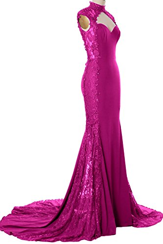 Lace Long Neck High Dress Jersey Gown Evening Formal Mermaid Women Fuchsia Prom MACloth qFwI0f