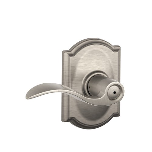 Schlage Accent Lever with Camelot Trim Bed and Bath Lock in Satin Nickel - F40 ACC 619 CAM