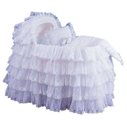 Babydoll Extravaganza Bassinet Liner/Skirt & Hood, White, 17'' x 31'' by BabyDoll Bedding