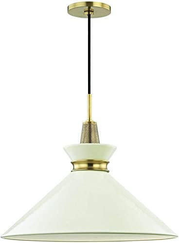 Mitzi Hudson Valley Lighting H251701l Agb Cr Kiki Pendants 1 Light 75w Aged Brass Cream Finish 18 W X 15 25 H