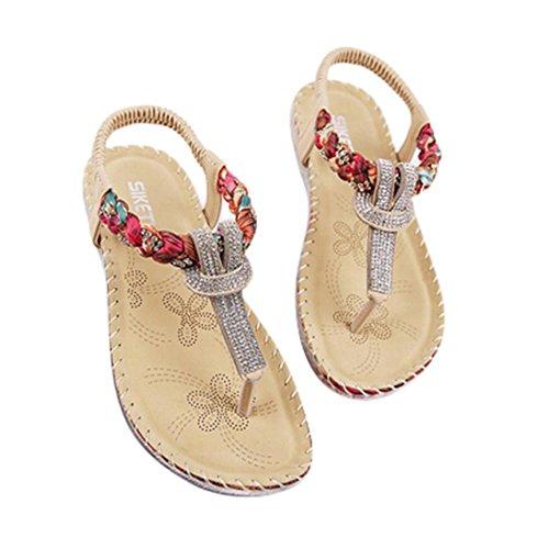 Zapatos planos de Sandalias tacón diamantes verano solapa Zapatos imitación con Bling Zapatos de de Koly rojos con plano Bling xSwnqxT