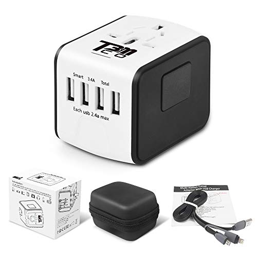 T3MCO BO-002 1 International Travel Adapter-Use Worldwide in UK EU AUS USA-4 USB Ports Cable and Carry CASE-Take This On Your Next Holiday for Multi Device Charging, WHITE