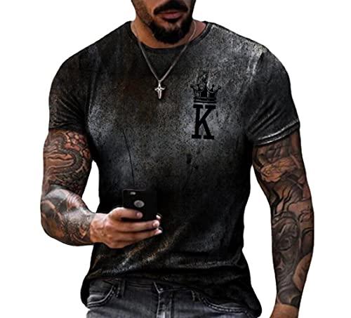 JFX 3D Print Gradient T-Shirt mannen Polyester Poker Sport Korte Mouwen Ronde Hals Kleur Matching Beach
