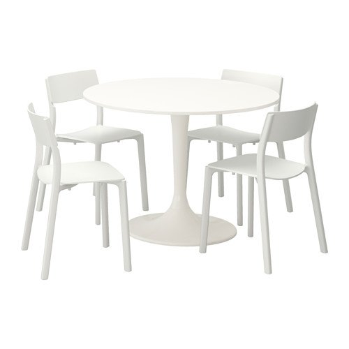 Ikea Table and 4 chairs, white, white 2204.20514.342