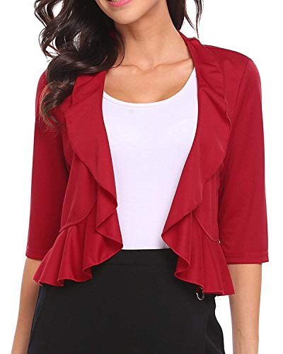 Women's 3/4 Sleeve Cropped Bolero Shrug Open Front Cardigan (Wine Red, Small)