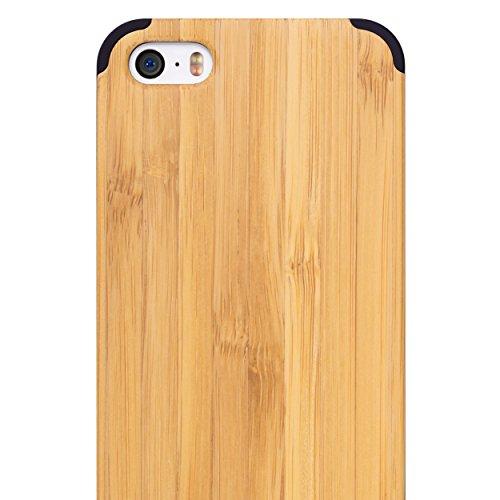 iCASEIT Handmade Bamboo Non-Slip Snap on Back Bumper Case for iPhone SE/ 5S/ 5 – Black