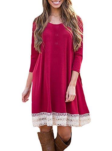 Damen Kleider Blusenkleider Shirtkleider Rundhalsausschnitt Lockere Geschnürt Langen Ärmeln Volltonfarbe